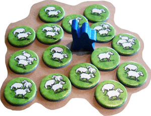 Carcassonne: Hills & Sheep shepherd meeple and sheep tokens
