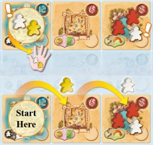 Five Tribes mancala-like movement example