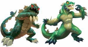 King Of Tokyo Gigazaur comparison (original left, new right)