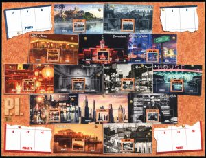 P.I. game board featuring 14 locations