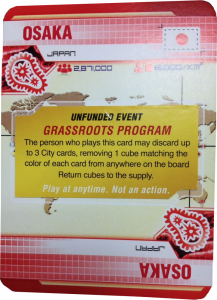 Pandemic: Legacy sample City card with Unfunded Event sticker