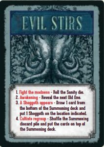 Pandemic: Reign of Cthulhu - Evil Stirs card