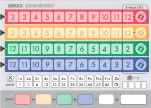 Qwixx Scoresheet - Give one to each player. Note that the red & yellow rows are in ascending order while the blue & green are in descending order.
