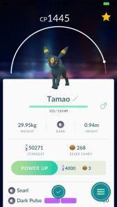 Name an Eevee Tamao to evolve an Umbreon
